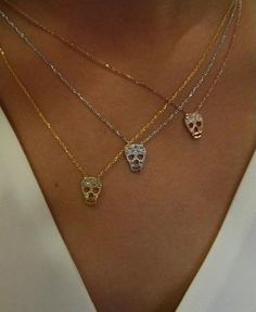 Skull necklaces now available! Love these, especially the rose gold Skull Necklace, Skull Jewelry, Body Jewelry, Jewelry Box, Jewelry Accessories, Fashion Accessories, Jewlery, Hippie Jewelry, Fashion Jewellery