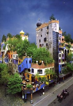 Building designed by Hundertwasser! - HP - PickPin : Building designed by Hundertwasser! Unique Buildings, Interesting Buildings, Amazing Buildings, Detail Architecture, Amazing Architecture, Art And Architecture, Places Around The World, Around The Worlds, Friedensreich Hundertwasser