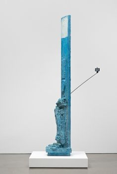 Rachel Harrison Open Mic, 2015 Wood, polystyrene, cement, acrylic, pedestal, selfie stick, and display phone 107 1/2 x 41 x 57 inches (273.1 x 104.1 x 144.8 cm)