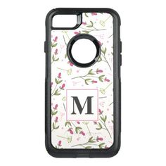 #monogram - #Pink and Green Long Stem Wildflowers Monogram OtterBox Commuter iPhone 7 Case