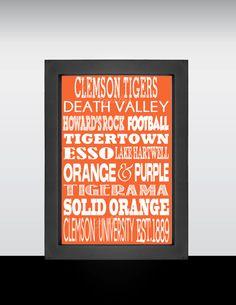 Clemson TIgers, Clemson University, Tigers, Clemson Football, Clemson, SC on Etsy, $18.00