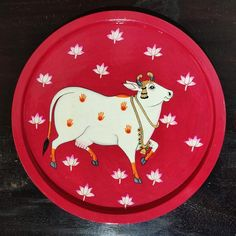 Hand Painted Decorative plate- Beautiful Handpainted cow on wood - Acrylic colors on wood - cow pichwai painting on wood Cow Painting, Mural Painting, Fabric Painting, Painting Patterns, Pichwai Paintings, Indian Paintings, Indian Folk Art, Acrylic Colors, Acrylic Art