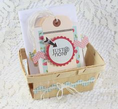 Handmade Blank Note Card Set - Set of 6 with Embellished Berry Basket I love her stuff! these are cards blank with decorated basket for Christmas Gift Baskets, Christmas Ideas, Paper Bag Album, Berry Baskets, Scrapbook Cards, Scrapbooking, Crafty Projects, Paper Crafts, Paper Art