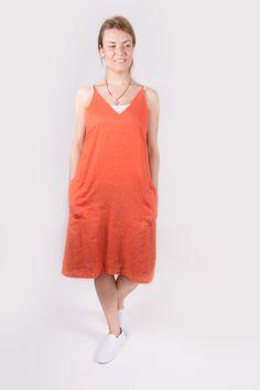 Orange linen dress. Orange dress. Linen dress. by Maliposhaclothes on Etsy