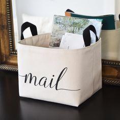 Mail Canvas Storage Bin