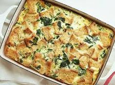 Brunch Casserole 2 1/2 cups seasoned croutons 1 pound hot pork sausage cooked crumbled 4 eggs 2 1/4 cups milk1 (10.75 ounce) can condensed cream of mushroom soup 1 (10 ounce) package frozen chopped spinach – thawed, drained 1 (4.5 ounce) can mushrooms, drained and chopped 1 cup shredded sharp Cheddar cheese 1 cup …