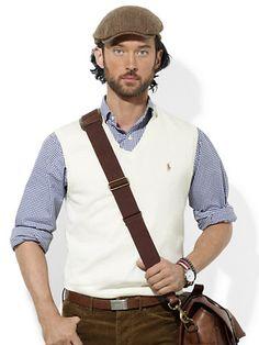 Pima Cotton V-Neck Vest - V-Neck  Sweaters - RalphLauren.com  Size - S
