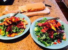 Food Fitness by Paige: Salmon Bacon Mango Salad with Blueberry Vinegrette...