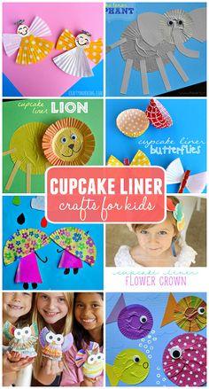 Creative Cupcake Liner Crafts for Kids to Make (Find a lion, elephant, angel…