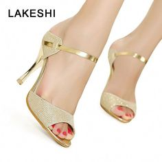 f2d48f95fae LAKESHI Peep Toe Women Pumps High Heel Shoes Gold Silver Women Heel Shoes  Fashion Thin Heels Sandals Summer Women Shoes Note tag of the shoes show  Chinese ...