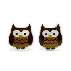 Owl Earrings - Brown Sterling Silver Posts Studs Kawaii Cute. $15.00, via Etsy.