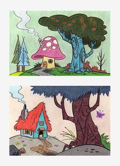 #backgrounddesign #trees #mushroomhouse #colouredpencils #composition