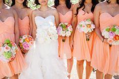 love the color of the bridesmaid dresses, the bride should have flowers that match their dresses.