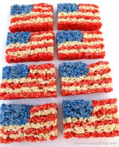 Our of July Rice Krispie Treats are a fun, delicious and easy to make treat for your of July party or Memorial Day BBQ! Blue Desserts, 4th Of July Desserts, Fourth Of July Food, 4th Of July Party, July 4th, Patriotic Desserts, Patriotic Party, Colorful Desserts, Sweet Desserts