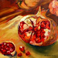 Oil painting of pomegranate by Anne Chun