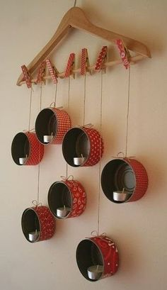 Diy: Hanging Tin Lanterns For X-mas DIY: HangingTin Lanterns For X-mas Do-It-Yourself Ideas Recycling Metal Diy Christmas Decorations Easy, Christmas Crafts, Christmas Candles, Nordic Christmas, Modern Christmas, Christmas Christmas, Christmas Lights, Tin Can Crafts, Wall Candle Holders