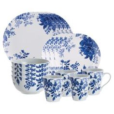 Sixteen-piece porcelain dinnerware set with floral motifs.   Product: (4) Dinner plates (4) Salad plates (4) Cereal bowls (4) MugsConstruction Material: PorcelainColor: White and blueFeatures: Delicate botantical motif reflects a relaxed, Southern styleDimensions: Dinner plate: 11.8 Diameter eachSalad plate: 9.3 Diameter each Cereal bowl: 7.2 H x 6.3 Diameter eachMug: 9.4 H x 8.3 W x 5 D each Cleaning and Care: Microwave and dishwasher safe