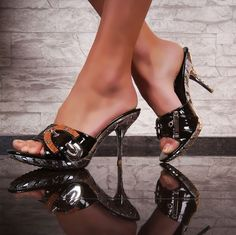 Womens Black Silver High Heels Slippers Ladies Sandal Shoes EU35-41 US4-10 UK2-8 #St #PlatformsWedges #PartyPromWeddingBridesmaidClubEvening