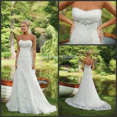 Find More Wedding Dresses Information about Custom Made Size Lace A line Strapless With Crystal Beaded Chiffon Floor length Court Train Wedding Dress 2015 New Arrival,High Quality lace up boots flat,China strapless top Suppliers, Cheap strapless swim from Forever Lover Bridal on Aliexpress.com