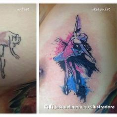 Esta bailarina sinplificada cobró vida y nueva forma con pinceladas de color y splash de tinta. ¡Gracias por la confianza y por el aguante en una zona tan sensible! #bailarina #coverup #eternal #ink #tatto #ballet #watercolor #girltattoo #colortattoo #colorcoverup #chikawonka