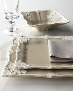 12-Piece Taupe Square Baroque Dinnerware Service - Horchow
