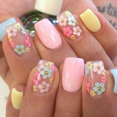 Nail art is one of many ways to boost your style. Try something different for each of your nails will surprise you. You do not have to use acrylic nail designs to have nail art on them. Here are several nail art ideas you need in spring! Easter Nail Designs, Colorful Nail Designs, Nail Designs Spring, Cute Nail Designs, Pretty Designs, Flower Nail Designs, Nails With Flower Design, Coral Nail Designs, Coral Nails With Design