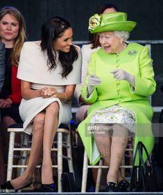 Meghan, Duchess of Sussex and Queen Elizabeth II open the new Mersey Gateway Bridge on June 14, 2018 in Widness, England.