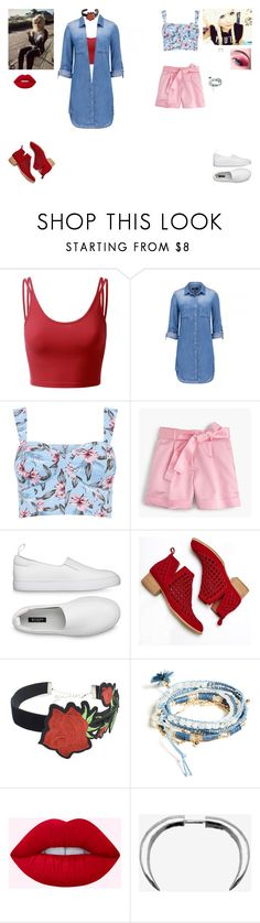 """LIZ & I at a party"" by punkalishous ❤ liked on Polyvore featuring Doublju, J.Crew, Jeffrey Campbell, WithChic, GUESS, INDIE HAIR, Chris Habana, MyStyle, FH and nw"