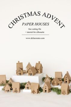 Christmas Advent Paper Houses (+ Silhouette Cameo Giveaway Christmas Advent Paper Houses – free tutorial and cutting files // Delia Creates Noel Christmas, Winter Christmas, All Things Christmas, Nordic Christmas, Modern Christmas, Christmas Projects, Christmas Crafts, Christmas Decorations, Christmas Tables