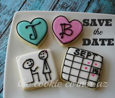 wedding cookies, engagement cookies, save the date Engagement Cookies, Date Cookies, Best Sugar Cookies, Wedding Cookies, Wedding Anniversary, Save The Date, Bakery, Valentines, Knot
