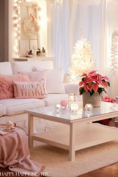 Welcome to a Home for Christmas House Tour. This night view of our cozy cottage is a winter wonderland of candlelight and paper snowflakes. Modern Christmas Decor, Christmas Decorations For The Home, Winter Home Decor, Winter House, Christmas Home, Holiday Decor, Christmas Ideas, Pink Christmas, Decorating Your Home