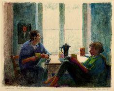 Berlin Breakfast, Monotype with colored pencil - Belinda DelPesco