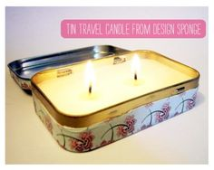 Travel-themed craft projects. Altoids tin + scrap paper + candle making supplies = travel candle.