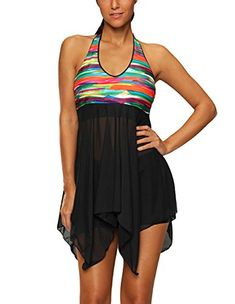 b336ec455f YAMALL Womens Halter Mesh Patchwork Swimdress 2 Piece Irregular Tankini Swimsuit  Bathing Suit with Boy Leg