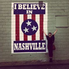 Take photo  with the I Believe in Nashville mural by Adrien Saporiti...