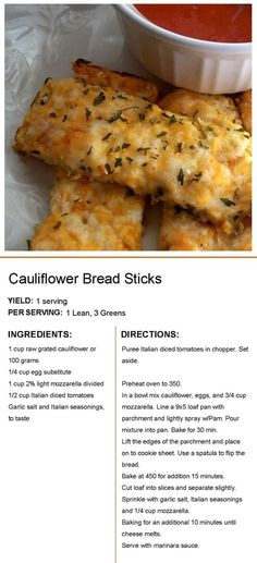 Lean Protein Meals, Lean Meals, Low Carb Recipes, Cooking Recipes, Healthy Recipes, Veggie Dishes, Vegetable Recipes, Cauliflower Bread, Califlower Bread Sticks