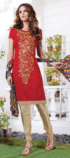 445719 Red and Maroon  color family Party Wear Salwar Kameez in Chanderi, Silk fabric with Lace, Machine Embroidery, Thread work .