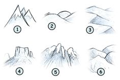 Different ways to draw mountains.