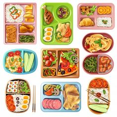 Set de almuerzos en caja | Free Vector #Freepik #freevector #comida #pescado #chino #pollo Paper Doll House, Paper Dolls, Food Stickers, Cute Stickers, Bento Box, Lunch Box, Cute Food Art, Food Painting, Food Drawing