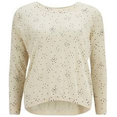 Great Plains Women's Starry Knit Jumper (115 CAD) ❤ liked on Polyvore featuring tops, sweaters, cream, textured knit sweater, star sweater, cream sweater, knit jumper and knit jumper sweater