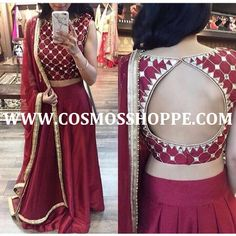 Shop this beautiful lehenga at https://cosmosshoppe.com/products/cosmos-womens-maroon-embroidered-lehenga