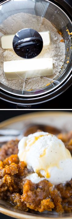A recipe for an ugly but DELICIOUS, drop-dead simple 3-ingredient slow cooker pumpkin cake! That's right, this recipe only uses 3 ingredients! YOU GUYS, LOOK AT THIS THING.