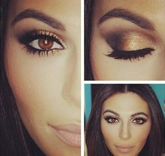 Golds and Browns for Eyes! 3 coats mascara to the top and bottom lashes.
