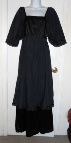 vintage gothic black layered eyelet peasant dress witchy maxi empire waist M L #Unbranded
