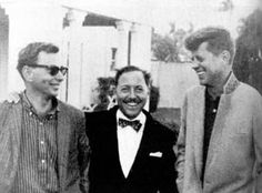 gore vidal, tennessee williams, & jfk, palm springs, 1958.