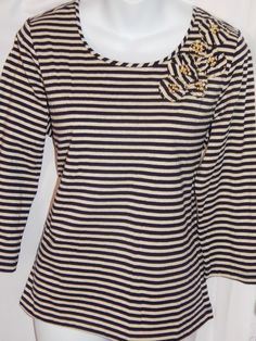 NWT Top Gold Navy Blue Striped Size M Knit Shirt Beaded New 3/4 Sleeves #LarkLane #KnitTop #Casual