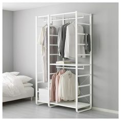 IKEA - ELVARLI, 2 sections, white, You can always adapt or complete this open storage solution as needed. Maybe the combination we've suggested is perfect for you, or you can easily create your own. One 40 cm clothes rail holds about shirts on hangers. Open Wardrobe, Wardrobe Storage, Hemnes Wardrobe, Diy Pipe Shelves, Storage Shelves, Shoe Storage, Pvc Pipe Storage, Ceiling Storage, Shelving Units