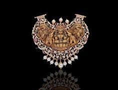 Nakshi+Work+Diamond+Temple+Pendant