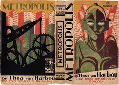 Έργο του Aubrey Hammond για το Metropolis της Thea von Harbou (εκδόσεις Readers Library, 1927). Η εικονογράφηση του Hammond συνδυάζει την χρωματική αρμονία με ένα δυστοπικό όραμα. Από τη συλλογή Mark Terry/Facsimile Dust Jackets L.L.C.