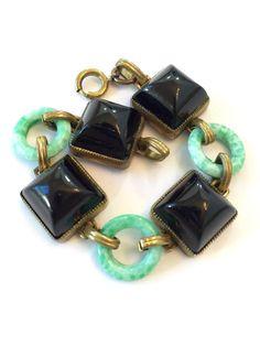 Vintage Art Deco Czech Bracelet Green by AntiqueJewelryForFun